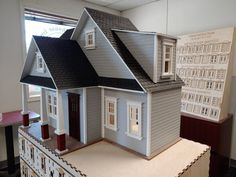 Wooden Dollhouse Kits, Dollhouse Design, Victorian Farmhouse, Victorian Cottage, Craftsman Staircase, Staircase Landing, Porch Kits, Double Window, Craftsman Cottage