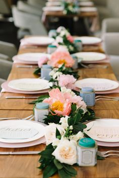 If we weren't ready for spring before, we sure are now after seeing this bridal shower tablescape featuring a garland of blooming Reception Decorations, Table Decorations, Event Company, Flower Petals, Celebrity Weddings, Luxury Wedding, Wedding Table, Tablescapes, Wedding Events