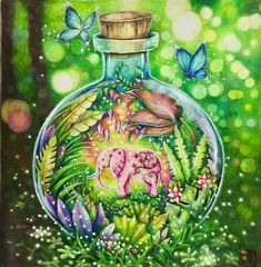 Genie Elly in the bottle? ☺️#magicaljungle #johannabasford #prismacolor #triplusfineliner