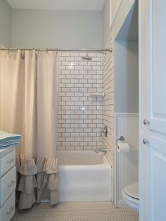 30 Small Bathroom Before /Afters-Fixer Upper With the aid of HGTV's Fixer Upper hosts Chip & Joanna Gaines, this master bath feels much larger due to white wainscoting, white storage cabinets & not a single black tile. Bad Inspiration, Bathroom Inspiration, Small Bathroom, Master Bathroom, Bathroom Ideas, Bathroom Remodeling, Budget Bathroom, Tiny Bathrooms, Bathroom Makeovers