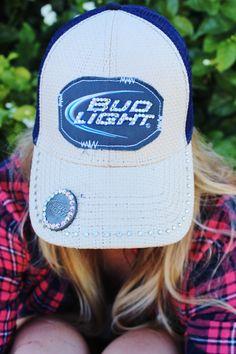 Rhinestone Bud Light Trucker Baseball Hat with Rhinestoned Bottle Opener attached! Like us on Facebook! Double M Tailgate