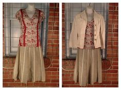 Kimichi Blue red/black/white floral print top, lace accent M $10; J. Crew grey cream stripes full skirt 8 $14; Banana Republic cream jacket 8 $14