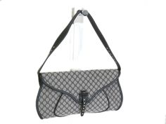 #Sale: was $172 now $130 ! #CELINE Hand bag Macadam Pattern Leather/Canvas Black/Grey(BF046659)