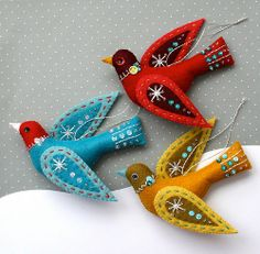 Snow Bird felt ornament
