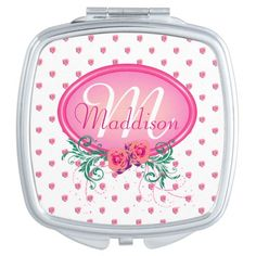 http://www.zazzle.com/pink_frame_monogram_rose_makeup_mirrors-256621649080339438?rf=238523064604734277 Pink Frame Monogram Rose Makeup Mirrors - This compact mirror has lots of pink roses all over. It has a pink monogram frame with roses and green foliage in which to place your name and initial. This would make a nice, personal Christmas or birthday gift for your wife, daughter or mother.