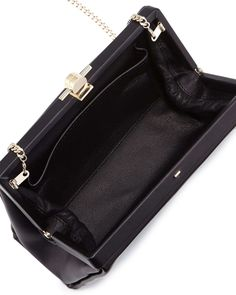 Karlie Leather Pochette Bag, Black