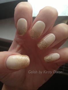 Harmony Gelish nail art. You're so suite you're giving me toothache with bronzed and golden treasure glitter fade from tips. I took this picture 2 days after I painted the manicure and it faded from pale pink to a cream/nude colour!! Bizarre!
