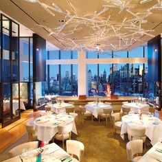 World's Best Restaurant Views: Asiate; New York City  On the 35th floor of the Mandarin Oriental hotel at the Time Warner Center, chef de cuisine Angie Berry prepares luxe Asian food like hamachi with preserved cherry blossom and Wagyu beef tenderloin over smoked potato. mandarinoriental.com