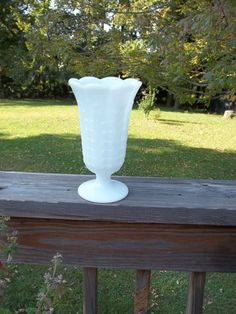 White milkglass vase with fern design