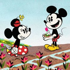 Happy Give a 🌷 if you dig spring! Mickey And Minnie Love, Mickey Mouse Shorts, Mickey Mouse Wallpaper, Mickey Mouse Cartoon, Mickey Mouse And Friends, Mickey Minnie Mouse, Disney Wallpaper, Trippy Wallpaper, Walt Disney