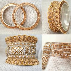 Indian bridal jewelry set Golden Bangles unique design