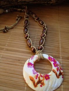 Hemp Necklace with Wooden Beads and MotherofPearl by min1971, $20.00