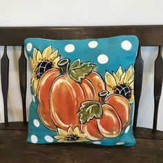 Orange Pumpkin and Sunflowers, Turquoise and White Polka Dots, Fall Pumpkin Pillows, Pillow Cover Pumpkin Pillows, Fall Pillows, White Pumpkins, Fall Pumpkins, Hand Painted Rocks, Painted Wood, Fabric Painting, Christmas Traditions, Porch Decorating