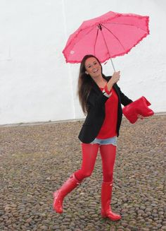 Red wellies red pantyhose and short shorts Nylons, Red Pantyhose, Red Wellies, Wellies Rain Boots, Red Hunter Boots, Hunter Wellies, Geek Chic Outfits, Rainy Day Fashion, Hunting Clothes