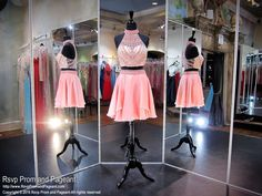 Coral Two-piece High Neckline Short Homecoming Dress