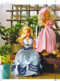 Barbie dolls dresses pink and blue ♥LCD♥ with diagrams -