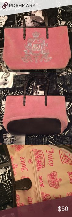 pink Juicy Couture purse pink purse with brown leather straps & bottom. logo on the front in silver stitching, has one zipper pocket on the inside as seen in photo. closes with a magnet also as seen in photo. only been used a few times, like new! Juicy Couture Bags Mini Bags