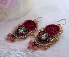 Textile Rose earrings, bead embroidery lace lightweight earrings flower earring romantic  gift for her Boho hand beaded textile jewelry