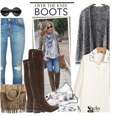 How To Wear Rock On Over-The-Knee Boots Outfit Idea 2017 - Fashion Trends Ready To Wear For Plus Size, Curvy Women Over 20, 30, 40, 50