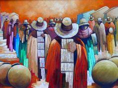 pintura peruana naif - Cerca amb Google Peruvian Art, South American Art, Bolivia Travel, Arte Popular, Folk Art, Decoupage, Art Prints, Ecuador, Paintings