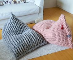 Chunky wool knit grey / mustard kids' bean bag / Bean bag chair / Nursery chair / Floor pillow - Knitting For Kids Knitting For Kids, Crochet For Kids, Knitting Projects, Crochet Ideas, Craft Projects, Bean Bag Knitting Pattern, Floor Pillows Kids, Floor Cushions, Diy Bean Bag