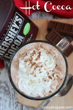 hot-cocoa-recipe Tried it last night after AJ shoveled snow, Delicious! Who does not love a traditional Hot Cocoa recipe when this cool weather hits? I can not imagine anyone not caring to enjoy a nice hot cup of Hot Cocoa to w Hot Chocolate Recipe Cocoa, Crockpot Hot Chocolate, Homemade Hot Chocolate, Hot Cocoa Recipe Microwave, Hersheys Hot Cocoa Recipe, Homemade Hot Cocoa Recipe, Vegan Chocolate, Hot Chocolate With Cocoa Powder, Chocolate Roulade
