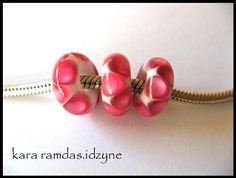 BHB Hot Pink Dots on White European Charm Bead fits by idzyne, $16.00
