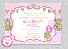 Girls 1st Birthday Invitation  Pink Gold by The Trendy Butterfly