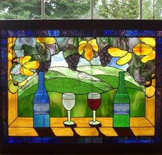 Wine window - delphi artist gallery for the love of stained glass бокал, ви Fused Glass Art, Stained Glass Art, Stained Glass Windows, Mosaic Glass, Stained Glass Designs, Stained Glass Projects, Stained Glass Patterns, Mosaic Windows, Wine Bottle Art