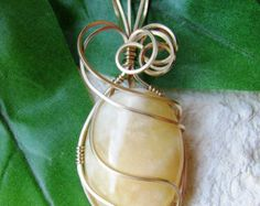 Yellow Calcite 14K Gold Wire Wrapped Pendant - Calcite Pendant - Yellow Calcite - Wire Wrapped Pendant - Gold Wire Wrapped Pendant