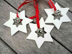 These beautiful handmade clay star with Bell ornaments are a great . - These beautiful handmade clay star with Bell ornaments are a great decoration for Christmas. Clay Christmas Decorations, Polymer Clay Christmas, Christmas Projects, Christmas Tree Ornaments, Christmas Crafts, Handmade Christmas, Christmas Ideas, Magical Christmas, Christmas Makes