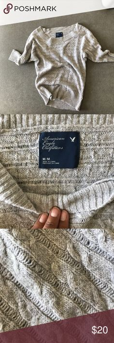 AE Cable Knit Sweater - M Preowned AE Sweater, Lightweight, Cable Knit Design. Super Cute, Rock Off the Shoulder! American Eagle Outfitters Sweaters