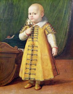 Portrait of a child (panel), Anguissola, Sofonisba (c.1532-1625)  when you zoom in there is detailing that is plausibly thread wrapped the color matches the trim, might be braided frog but the pattern reminds me of thread woven buttons