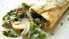 Savory Mushroom, Spinach & Cheese Crepes