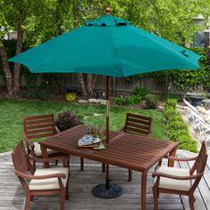 Commercial Grade 9 Ft Patio Umbrella Forest Green Sunbrella Canopy