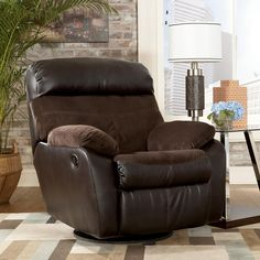 Berneen - Coffee Swivel Rocker Recliner by Signature Design by Ashley