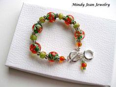 Art Glass Bead Bracelet by MindyJeanJewelry, $68.00  www.mindyjeanjewelry.etsy.com