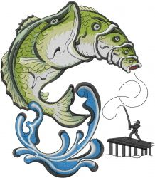 A Fishing Fish embroidery design