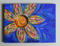 Handmade acrylic painting of a very bright, vividly colorful abstract sunflower on 12 in x 16 in canvas with black painted edges.  This canvas goes well with nearly any color scheme, and it would make a wonderful accent pop of color in nearly any space. Canvas is ready to be hung or framed. I usually hang my canvases using command strip products as they are much less damaging to the wall, especially if you are a renter. But you can hang this canvas in whatever way works best for your space…