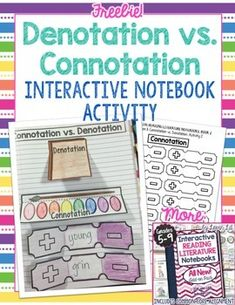 Interactive Reading Notebooks FREE Bonus Lesson: Denotation vs. ConnotationThis FREE lesson is an excerpt from the ALL NEW Interactive Reading Literature Notebooks Add-On Pack!This includes a free interactive notebook activity to teach the difference between denotation and connotation as well as practice deciphering the positives and negatives of word connotations.For more ALL NEW interactive reading notebook lessons, please check out:Interactive Reading Literature Notebooks 2 ~ All NEW…
