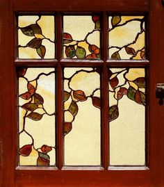 "Theodore Ellison Designs - leaded glass design and fabrication. Oak and Acorn Window, 2004, 16"" x 20""."