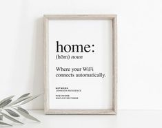 Home Is Where Your WiFi Connects Automatically, WIFI Password Sign, Wifi Password Printable, Internet Sign, PDF Instant Download #BPB340_G - Bliss Paper Boutique $6.50