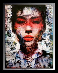 Tehos painting, ink,  acrylic, collage and spray on canvas 115*89 cm Tableau de Tehos encre acrylique et collages sur toile 115*89 cm