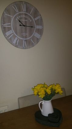 Kitchen clock and daffy as spring is on its way
