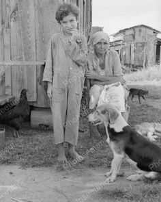 Family With Animals 1935 Vintage 8x10 Reprint Of Old Photo