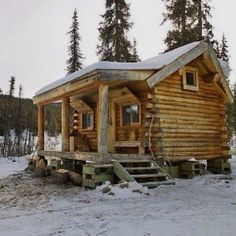 Sharing my obsessive love of rustic cabin life through photos and art I have collected. Small Log Cabin, Tiny Cabins, Little Cabin, Tiny House Cabin, Log Cabin Homes, Cabins And Cottages, Cozy Cabin, Log Cabins, Rustic Loft