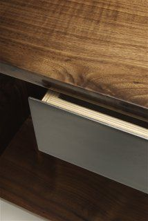 plywood rabbetted drawer boxes with steel plate drawer front