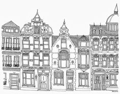 row of houses illustration - Google Search