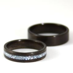 Rosewood Wooden Wedding Ring Pair With Pearl Inlay. $310.00, via Etsy.