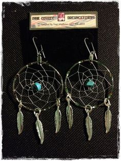 Silver Turquoise Dreamcatcher Earrings With by PinkCoyoteDreams, $20.00